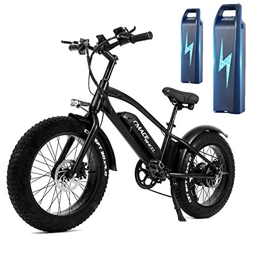 20 Zoll Elektrofahrrad Schwarz 750W Mountainbike E-Bike Max Speed 45km/h & 120 Km Reichweite - Zwei 10Ah Batterien - LED Anzeige - Sport/Wandern/Strand/Citybike Für Herren Damen