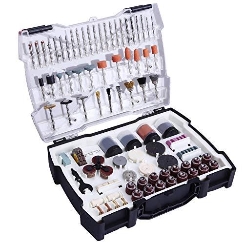 TACKLIFE ARTO2C Drehwerkzeug-Zubehör, 282 Stück, Durchmesser 1/8 Zoll (3,2 mm), mit 4 Universal-Bohrfuttern für Drehwerkzeuge, Schneid-/Polieren/Schleifen / Schleifen/Gravuren