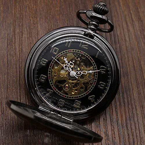 HANXIAO Taschenuhren Steampunk Hollow Black Flower Halbautomatische mechanische Taschenuhr Männer Frauen Uhren Kette Vintage Black Clock Geschenke mit Box-Hellrosa