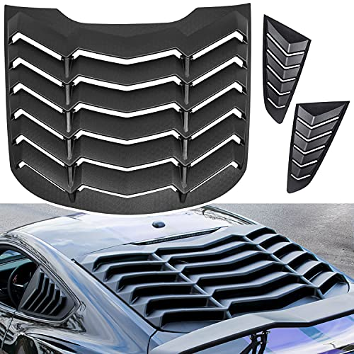 Danti Matte Black Rear and Side Window Louvers Sun Shade Cover in GT Lambo Style fits for Ford Mustang 2015 2016 2017 2018 2019 2020 2021
