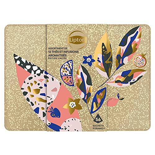 Lipton Coffret métal 12 thés & infusions aromatisés, idée cadeau, idéal à offrir, 56 sachets pyramide