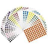 Kuuqa 36 Feuilles 8mm Couleur Codage Étiquettes Petit Point Ronde Autocollants Sticky Marquage Étiquettes (3168 Points)