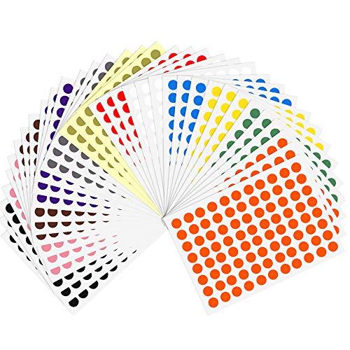 Kuuqa 36 Blätter 8mm Farbcodierung Etiketten Kleine Runde Dot Aufkleber Klebrige Kennzeichnung Etiketten (3168 Punkte)