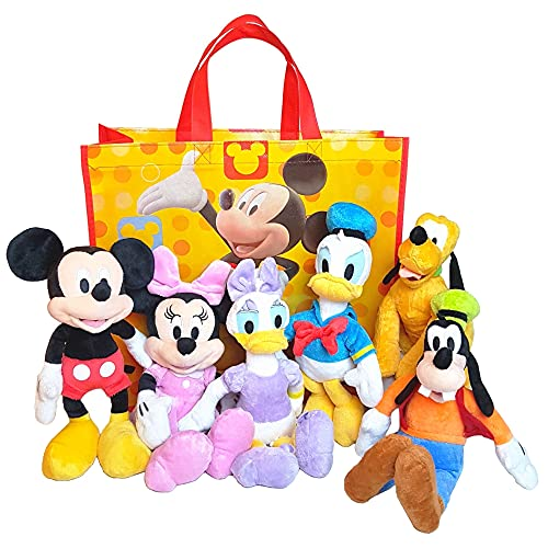 """Disney 11"""" Plush Mickey Minnie Mouse Donald Daisy Duck Goofy Pluto Mickey and Friends 6-Pack in Gift Bag"""