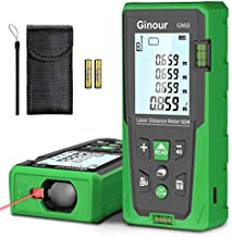 Laser Measure, Ginour Mute Laser Distance Meter 60m/196Ft M/In/Ft ±1mm Accuracy with 2 Bubble Levels, Backlit LCD and Pythagorean Mode, Carry Bag and Battery, for Measuring Distance, Area, Volume