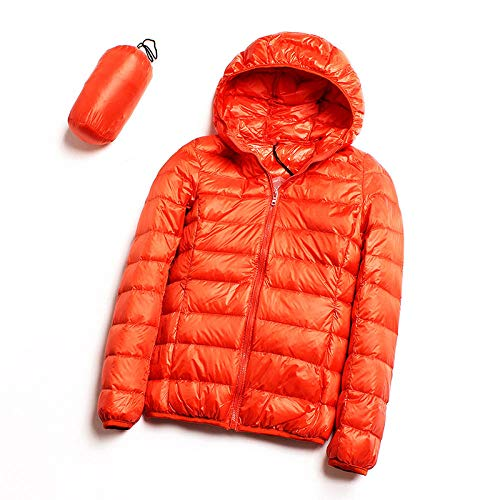 ADXD Leichte Daunenjacke Damen Kapuze Daunenjacke Kurz Damen Winter XL Jacke, Orange, xl