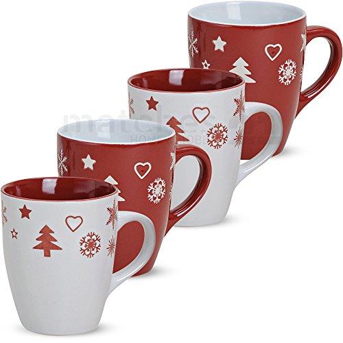 matches21 Becher Tassen Kaffeetassen Weihnachtsmotiv Weihnachten rot weiß 4er Keramik 10 cm / 300 ml - mit Tassenhalter
