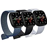 JUCC 3 Pack Correas Compatible con Apple Watch 44mm 42mm 38mm 40mm,Pulseras de Repuesto de Nylon Correa para iWatch Series 6 5 4 3 2 1 SE,Mujer y Hombre (42mm/44mm,Negro/Azul Verde/Gris)