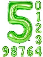 風船 0-9 40インチ グリーン 数字誕生日パーティーマイラー装飾(アラビア数字5)