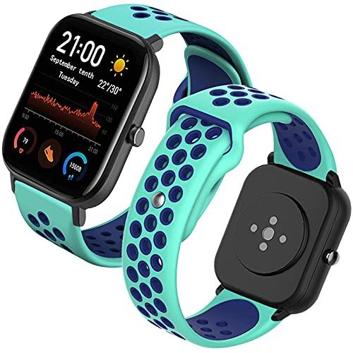 Th-some Correa para Amazfit GTS Smartwatch Reloj de Pulsera Compatible con Amazfit GTS/Amazfit Bip/Amazfit GTR 42mm Band Silicona(Verde menta y azul)