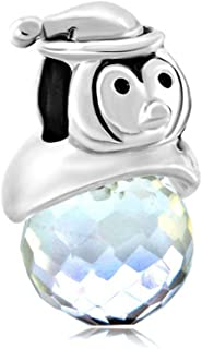 LilyJewelry Penguin Clear White Crystal Charm Beads For Bracelets