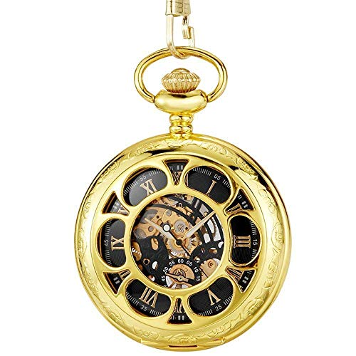J-Love Relojes de Bolsillo de Viento de Mano mecánicos de Oro Dorado, Esfera Azul Romana con números Romanos, Reloj mecánico con Tapa abatible