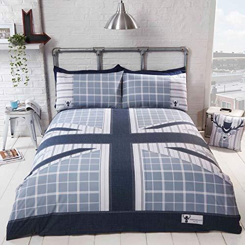 Rapport Cool Britania Quilt Duvet Cover Bed Set, Denim, Double