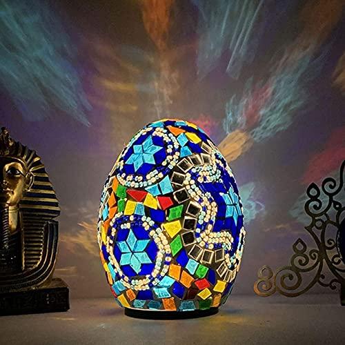 QLIGHA Lampada da Tavolo a LED Stile Egiziano Caratteristiche lampade da Tavolo a Forma di Uovo Decorazione d'interni Apparecchio a Colori Illuminazione per Camera da Letto, Soggiorno, Bagno, vanità