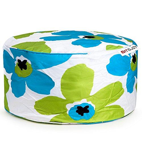 Sit&Joy Sitzkissen Sitzsack Bodenkissen Kissen Kinder-Sitzsack Sitzsack Kinder Bag Chair Blume blau-grün
