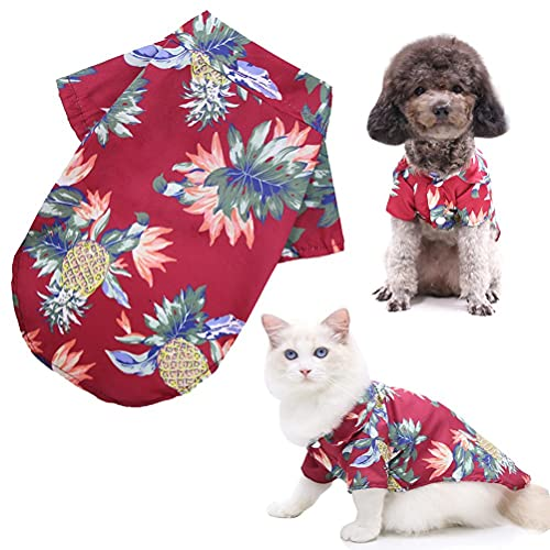 Haustier Poloshirt, Hundeshirt Haustier Hawaiian Shirt Modisch Atmungsaktiv Hund Sommer T-Shirt Hundekleidung für kleine bis mittlere Haustier