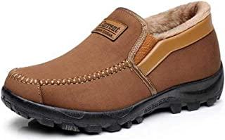 Asifn Men's Moccasins Slippers Slip,on Plush Loafers Warm Fur Lined Walking Driving Shoes Indoor Outdoor Short Boot Winter Snow Boots,Brown,11.5 US,28.5 cm Heel to Toe