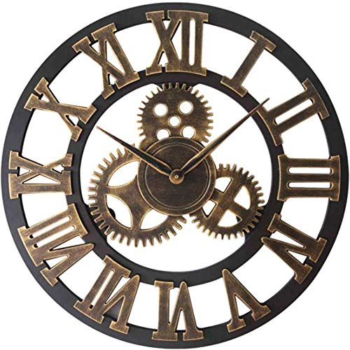 Jorzer Große Wanduhr, Antik Handarbeit aus Holz Vintage-3D-Gang Design Vintage runden Holz Wanduhr Nicht Ticking Metall-Skelett-Uhr Retro Holz Steampunk Skeleton Hauptdekor-Gold-40cm