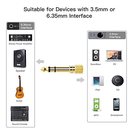 Headphone Adapter jack 6.35mm (1/4 inch) to 3.5mm (1/8 inch)-2 Pack, Posugear 1/4 inch to 3.5mm Headphone Audio Jack Plug Adaptor Gold Plated-2 Pack