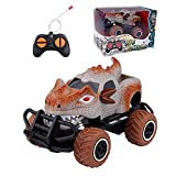 SKABENLAM Dinosaur Toys for Kids 3-5 ,Monster Truck for Boys, Remote Control Car for Boys and Girls 2 3 4 Year Old , Mini RC Dino Car , Monster Race Cars for Toddler Age 3-7, Kids Fun Toy(Brown)