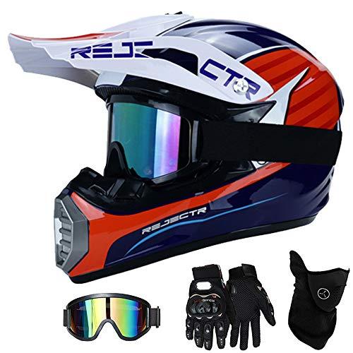 QYTK® Casco Motocross Niño Azul Blanco Rojo, MT-54 Full Face Motorcycle Cross Helmet Casco Motocicleta con Gafas Guantes Mascarilla, Al Aire Libre Motorbike ATV MTB Racing Seguridad Set,M(54~55CM)
