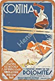 No/Brand Cortina Dolomiti Ski Cartel de Chapa Retro Metal Pintado Arte Cartel Decoración Placa de Advertencia Bar Garaje Jardín Jardín Regalo