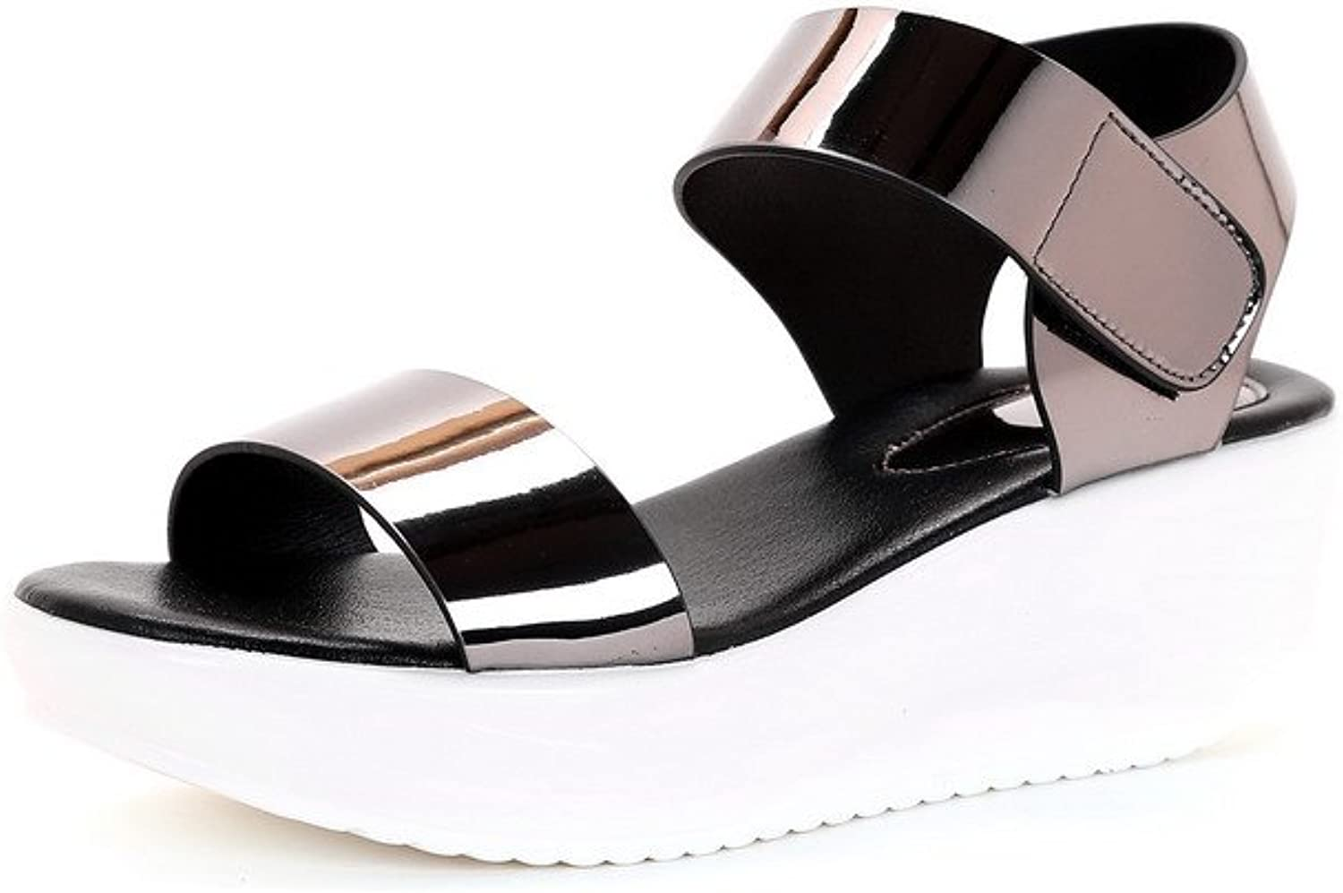 AmoonyFashion Women's Patent Leather Open-Toe Kitten-Heels Hook-and-Loop Solid Sandals