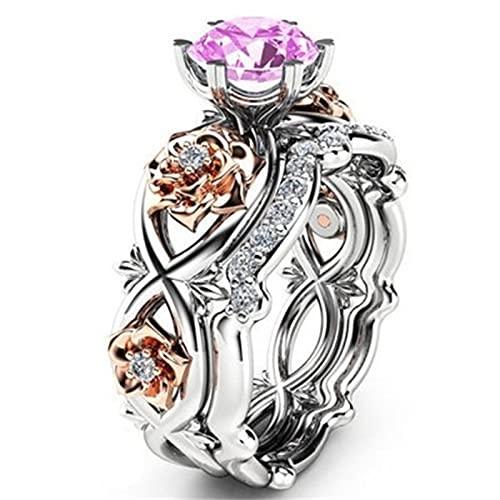 Banbry Damen Diamantring - 2021 Neue Damenmode Zweifarbiger Diamantring Diamantring Modeschmuck Geschenk Ring - Trauringe Damenring Hochzeitsringe Antragsring Ringe