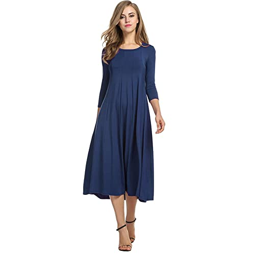 66cabcc5388d Hotouch Women s 3 4 Sleeve A-line and Flare Midi Long Dress