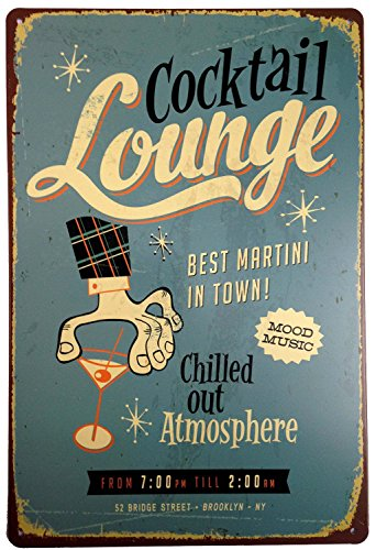 """ERLOOD Cocktail Louhge Best Martini in Town Retro Vintage Tin Sign 12"""" X 8"""""""