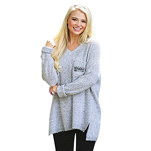 LOPILY Fleece Pullover Damen Thanksgiving Sweatshirt Asymmetrisch Saum Plüsche Tshirt Langarm Sweater Herbst Fleece Jacke Herbst Winter Thanksgiving Slogan Sweatshirt (Grau, 50)