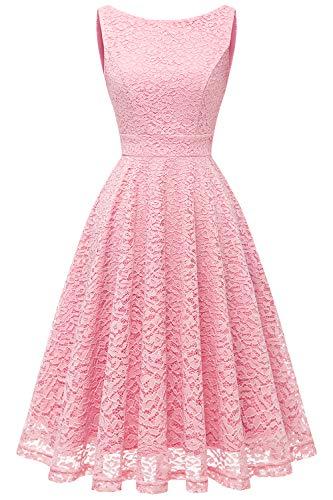 bbonlinedress Damen Retro Charmant Ärmellos Rundhals Knielang mit Spitzen Floral Rockabilly Cocktail Abendkleider Pink 3XL