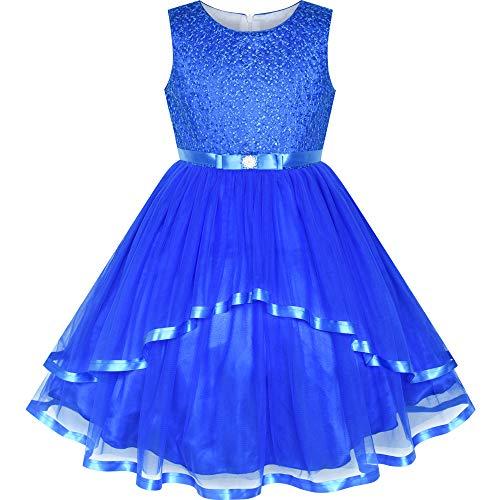 Sunny Fashion Robe Fille Fleur Cobalt Bleu Belted Mariage Partie Demoiselle d'honneur 8 Ans