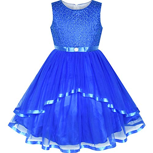 Sunny Fashion Flower Girls Dress Cobalt Blue Belted Wedding Party Bridesmaid Size 12