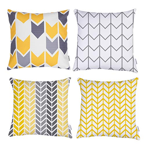 TIDWIACE Durable Cotton and linen Yellow and Grey Cushion Cover, Home Decorative Square Accent Throw Pillow Covers Set Geometric Cushion Case for Couch,Bedroom 45 x 45 cm Pack of 4