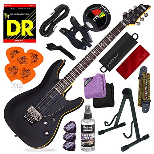 Schecter 3661 Demon-6 FR Electric Guitar (Aged Black Satin) + Strap, Tuner and Deluxe Accessory Bundle