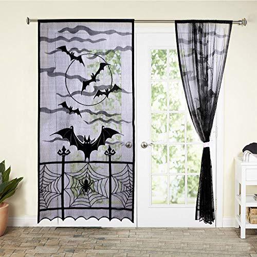 Gaddrt - Cortinas de telaraña para Halloween, diseño de murciélagos, Color Negro