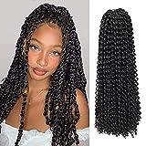 Passion Twist Hair, 6 paquetes de pelo de ganchillo con ondas de agua de 18 pulgadas...