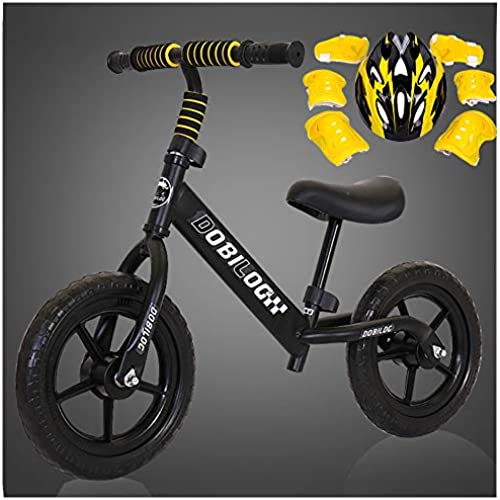 CHRISTMAD Laufrad Ohne Pedal   Helm Und Schutzausrüstung   Verstellbarer Lenker Und Sitzh    Pneumatikrad Eva-Rad   Kindergeschenk 80-120cm,schwarz-B