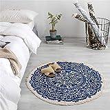 LucaSng Alfombra clásica oriental persa – Ornamentos, alfombra tejida de pelo corto – Alfombra hecha a mano de yute trenzado estampado – 90 cm redondo para salón (A)