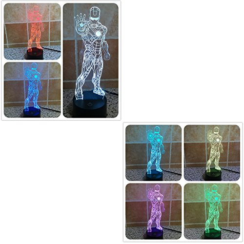 XANXUS VISION Avengers Mavel LED Night Light Hero Iron Man 3D lámpara Madera Color Cambio Luz 2016 lámpara de escritorio Decoración (soporte)