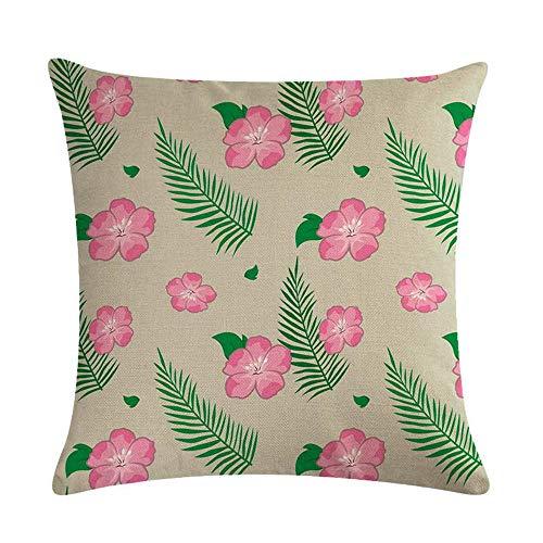Funda de cojín Funda de Cojine Patrón de pequeñas flores rosadas Almohada para Cojín 45X45CM