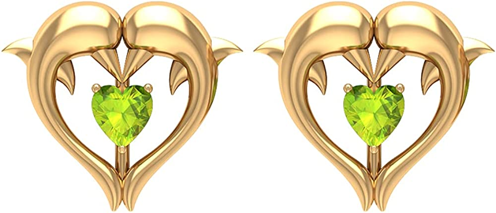1/4 CT Dolphin Heart Stud Earrings with Peridot (AAA Quality), Screw back
