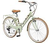 BIKESTAR Bicicleta de Paseo Rueda de 26' Pulgadas | Bici de Cuidad Urbana 7 Velocidades Vintage para Mujeres | Menta
