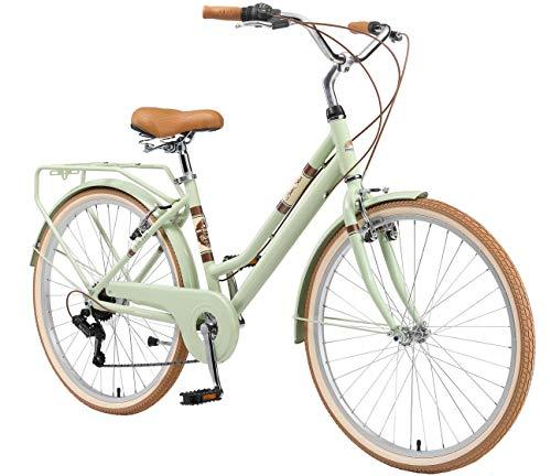 BIKESTAR Alu City Stadt Fahrrad 28 Zoll | 18 Zoll Rahmen, 7 Gang Shimano Damen Rad, Hollandrad Retro Bike mit V-Bremse und Gepäckträger | Mint | Risikofrei Testen