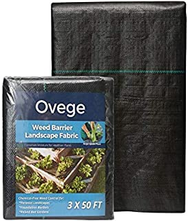 Ovege 3 x 50 Ft Heavy-Duty Weed Barrier Landscape Fabric 3.3oz Ground Cover for Weed Control