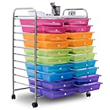 Happygrill 20-Drawer Organizer Cart Tools, Office School Paper Organizer Rolling Storage Cart with Wheels
