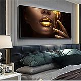 Gran tamaño Labios atractivos dorados Cuadro de mujer negra africana Pintura en lienzo Pintura al óleo Cuadro de arte de pared Póster Decoración moderna 70x140cm (27'x55') Sin marco