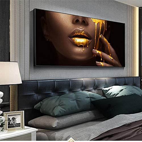 """Gran tamaño Labios atractivos dorados Cuadro de mujer negra africana Pintura en lienzo Pintura al óleo Cuadro de arte de pared Póster Decoración moderna 70x140cm (27""""x55"""") Sin marco"""
