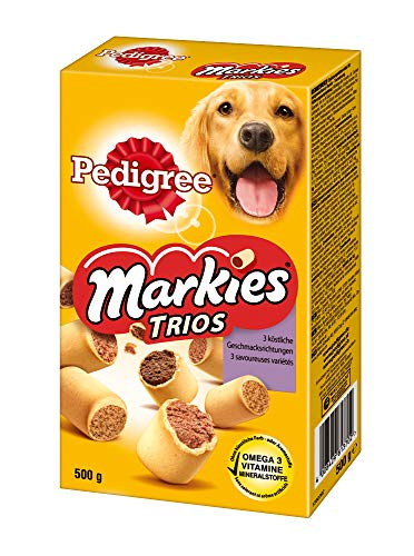 Pedigree Markies Trios – Knuspriger Hundekeks mit 3 verschiedenen Füllungen – Huhn, Lamm & Knochenmark – 12 x 500g
